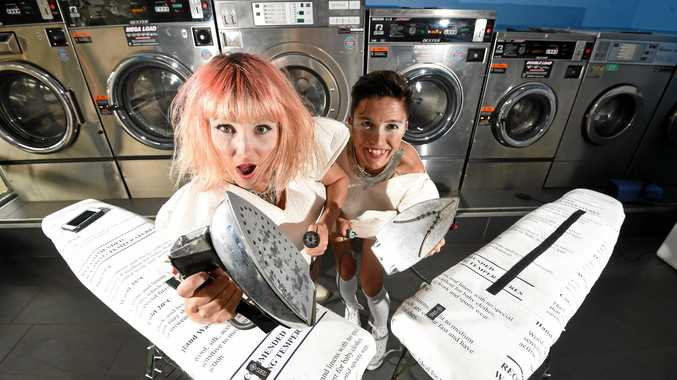 GRANTED: The Ironing Maidens Melania Jack and Patty Bom performing as part of the Lismore Womens Festival 2017.