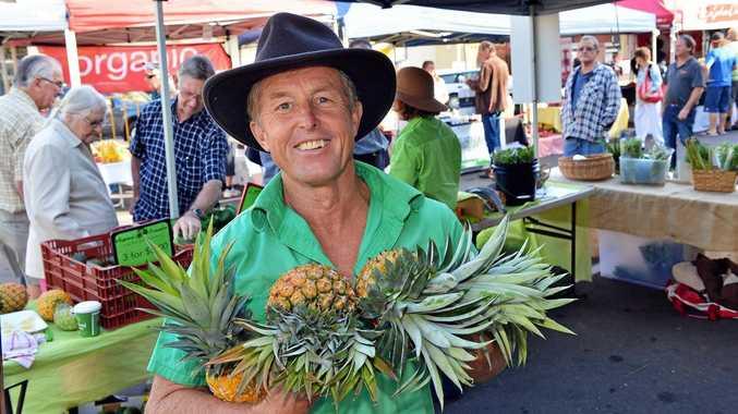 LOCAL MARKET: John Tidy selling pineapples on behalf of Amamoor farmer Chris Doyle.