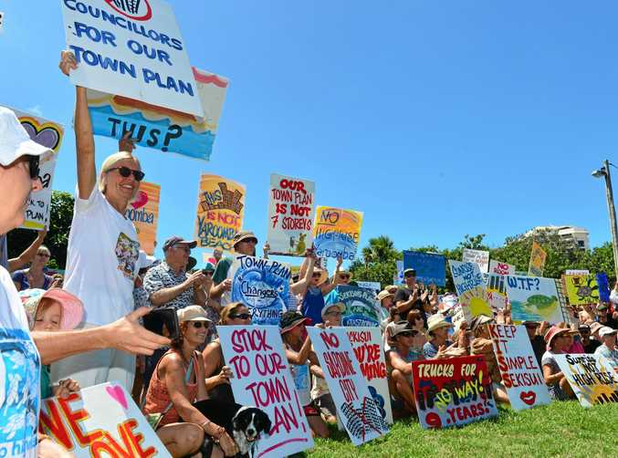 Protesters turned out in hundreds at Tickle Park, Coolum to vent over the Sekisui development.