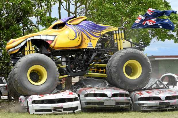 Clive Featherby gives Outback Thunda a workout ahead of Monster Buckin' Madness, at Hervey Bay's Stafford Park.