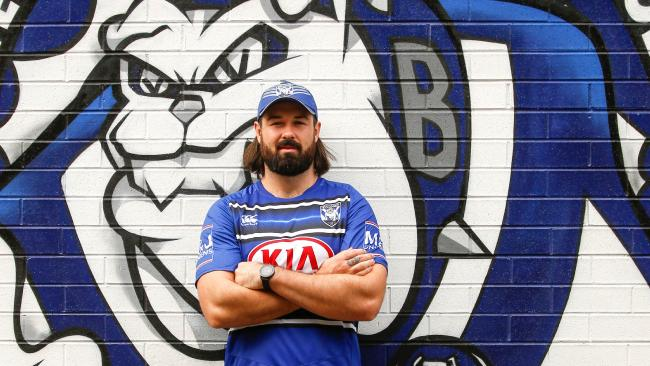 Aaron Woods is already looking comfortable in the blue and white of the Bulldogs.