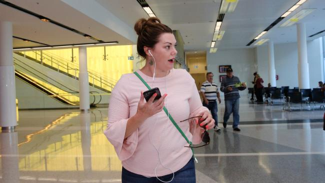 Sarah Hanson-Young at Canberra airport for the last week of Parliament of 2017. Picture: Gary Ramage