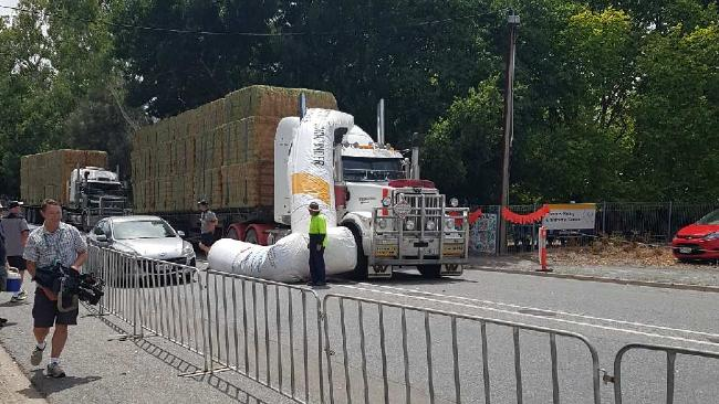 Truck brings down Town Down Under start/finish line at Gumeracha. Picture: Kelly Marrone