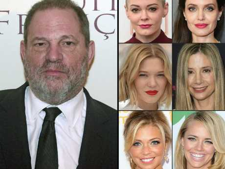 Harvey Weinstein (L) with some of the actresses who have accused him of sexual misconduct including Rose McGowan, Angelina Jolie, Lea Seydoux, Mira Sorvino, Lauren Sivan and Jessica Barth. Picture: AFP