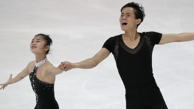 Ryom Tae-OK and Kim Ju-sik of North Korea competing at the Figure Skating-ISU Challenger Series in Oberstdorf, Germany where they qualified for the Winter Olympics. Picture: AP Photo/Matthias Schrader