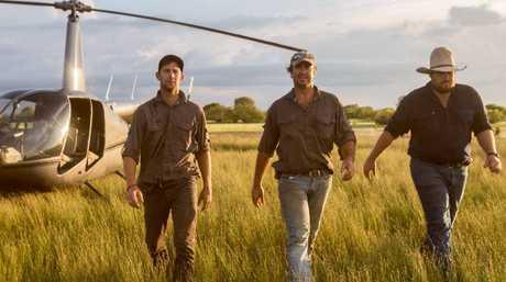 Chopper pilot and animal expert Matt Wright (centre) with his sidekicks Jono Brown and Chris 'Willow' Wilson.