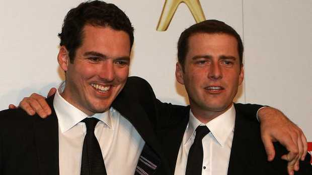 Karl (on the right) with his brother Peter Stefanovic at the Logie Awards. Picture: News Corp Australia