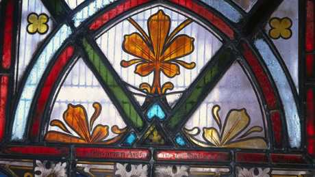 The stained glass windows in the property at 8 Locke St, Warwick. Picture: Michele Helmrich.