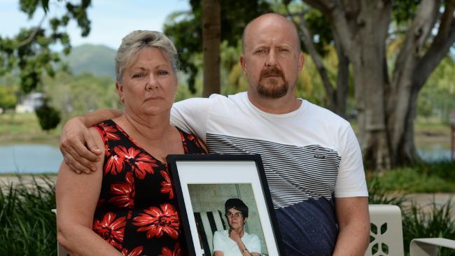 Niece Kerry Rothery and son Mick Valigura with a photo of Janice Cecilia Valigura.