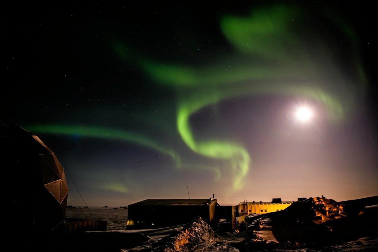The Aurora  moon at Davis Station.