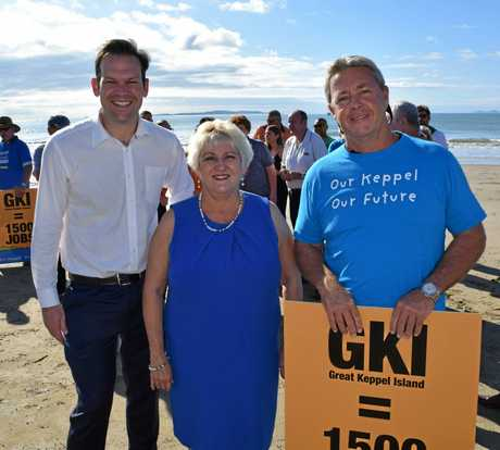 Senator Matt Canavan, Member for Capricornia Michelle Landry and Great Keppel Island Hideaway partner Sean Appleton.