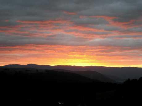 Sunset on the Conondale Range from Burnett Lane, Maleny  Photo: Erle Levey / Sunshine Coast Daily