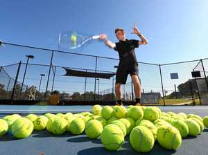 Brody Luc is an up and coming tennis player, getting in some practice at the Terranora Tennis Centre.