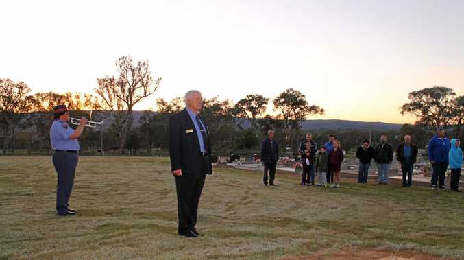 STORY TO TELL: Wallangarra sub-section president Dennis Pollard during an Anzac Day service in Wallangarra.