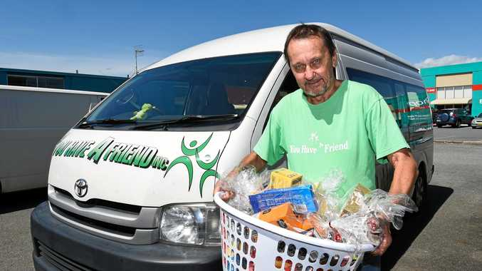 RELOCATED: You Have a Friend founder John Lee with some of the food he has on offer for the homeless. He offers free meals in public places several times a week.