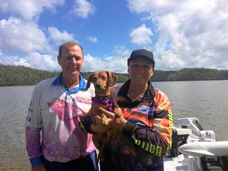 SPONSOR A BARRA: Keith and Julie Wally with blind dog Bronson.