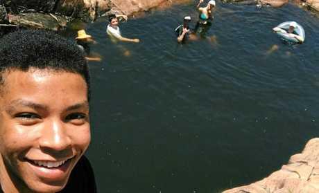 Elisha Taderera and friends swimming at the rock pools at Utopia Falls. Photo Contributed