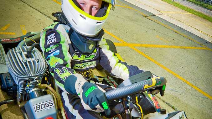 SPEEDSTER: Zac Bell at the Gladstone Kart track. The nine-year-old will compete at the Australian Kart Championships for the first time this year.