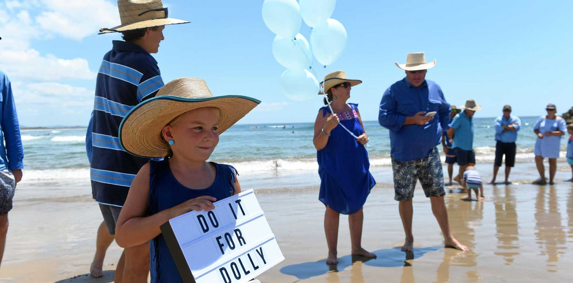 Tilly Ryan with family Bec, Cody, Jim and Darby at Evans Head main beach where they held a memorial for 14-year-old Dolly Everett following her tragic suicide.