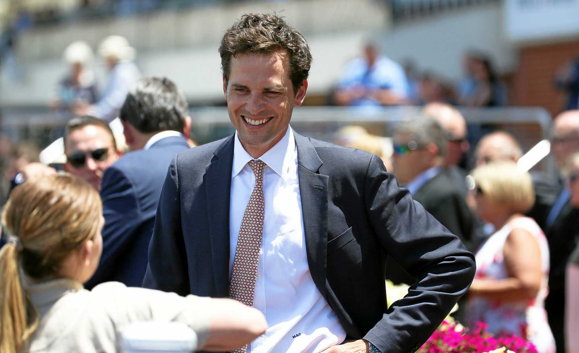 Trainer Matt Cumani is all smiles now Anthemoessa has made it safely to the Gold Coast for Saturday's Magic Millions Classic.