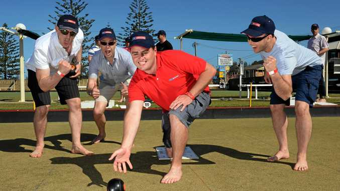 Mark Kentwell, Jeff Sansom, Daniel Latty and Paul McAllister from PRD nationwide at the Kingscliff bowls club Photo: John Gass  / Daily News