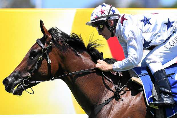 WINNER: Luke Currie rides Sunlight in taking out  the QTIS Two-Year-Old Handicap  on the Gold Coast last Saturday.