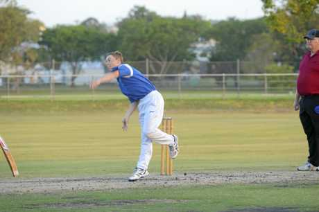 Hayden Ensbey rips the ball down the wicket during the Cleavers Mechanical Night Cricket fourth round clash between Harwood and Tucabia Copmanhurst.