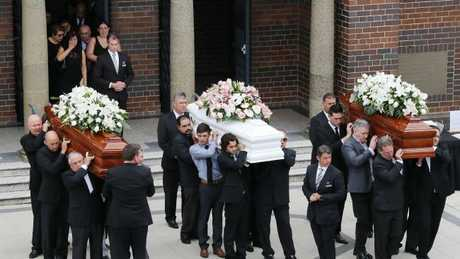 Friends and family at the funeral for Lars, Vivian and Annabelle Falkholt at Concord Today. Picture: David Swift.