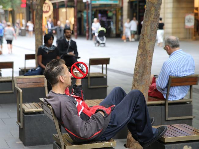 A smoker in Sydney's Pitt Street mall.