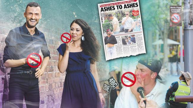 Reporter Matt Young, Cat Fryer and Shane Warne enjoy a smoke - we just can't show you.