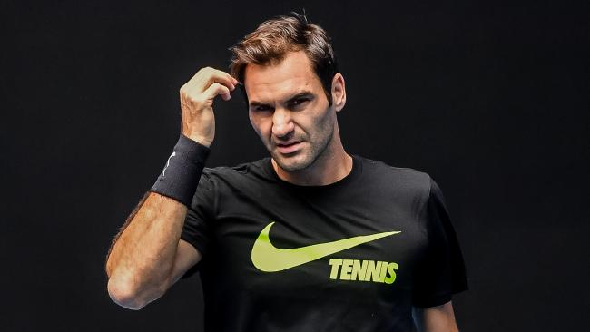 Roger Federer practices on Margaret Court Arena in the lead up to the 2018 Australian Open. Picture: Jake Nowakowski