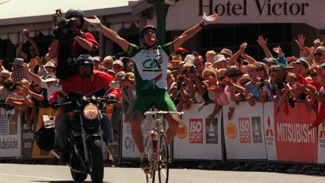 Stuart O'Grady wins the third stage of the Tour Down Under in 1999.