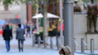A ranger looks at a no smoking sign in Martin Place, Sydney, which is currently a no smoking zone. Picture: Dylan Robinson.