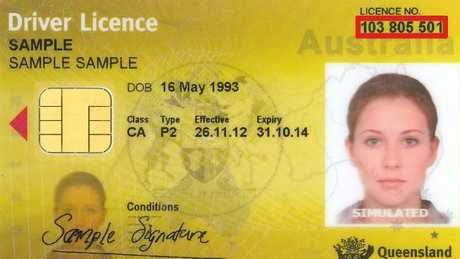 A sample Queensland driver's licence which doesn't show gender or height