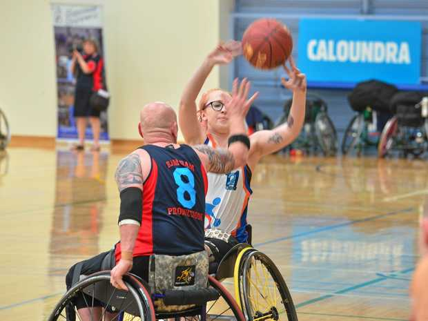 GAME ON: Sunshine Coast Spinners are hosting the annual wheelchair competition which includes the 'reverse inclusion' for able-bodied players. Natalie Palmer in action yesterday.
