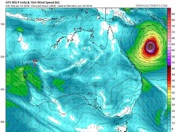 Mackay Weather Chasers has released a long-range model that shows a cyclone forming in the Coral Sea in late January early February.