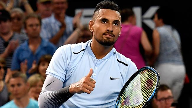 Nick Kyrgios celebrates after his Brisbane International victory. Picture: Getty Images