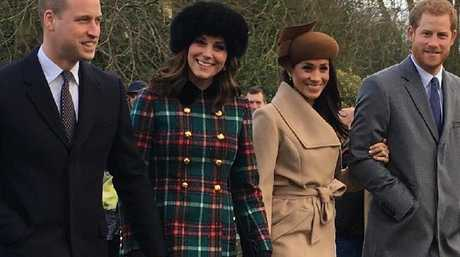 Prince William, Catherine, Meghan Markle and Prince Harry attend church on Christmas Day. Picture: Twitter/ Karen Anvil