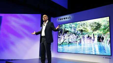 Samsung US vice-president Dave Das unveils the new 146 inch TV screen known as The Wall. Picture: Supplied