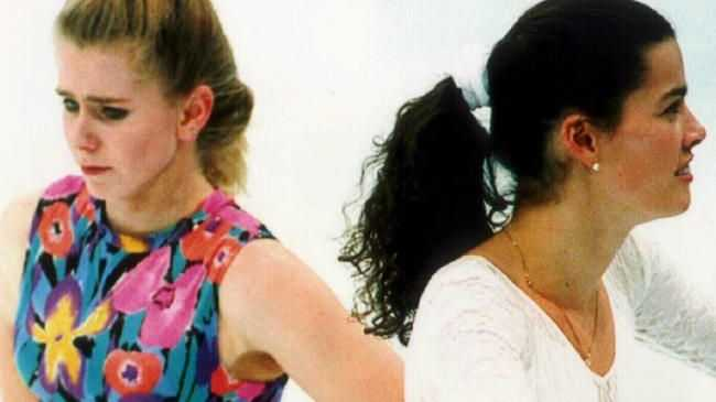 Figure skaters Tonya Harding (L) and Nancy Kerrigan avoid each other during training session in 1994. Picture: Supplied