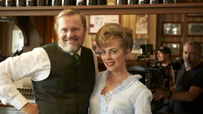 The Doctor Blake Mysteries star Craig McLachlan with former Neighbours co-star Annie Jones. Picture: Supplied/ABC