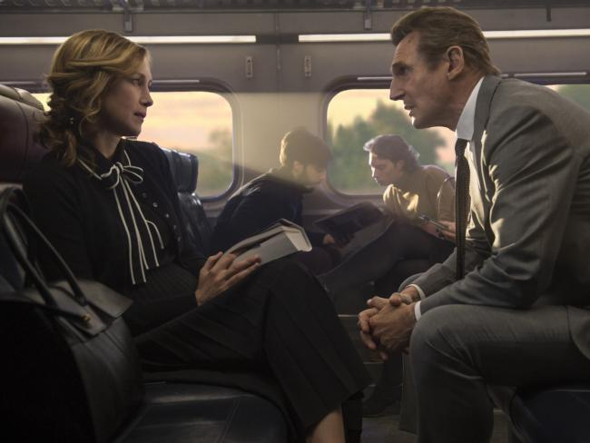 The ever anxious Liam Neeson and a mysterious Vera Farmiga in a scene from The Commuter.