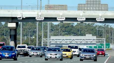 Marked speed cameras over the M1 at Logan. Picture: Mark Cranitch