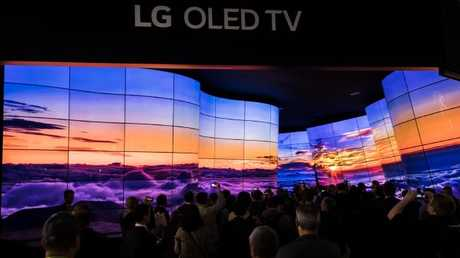 The 'Grand Canyon' flexible OLED TV display at LG's Consumer Electronics Show booth. Picture: Jennifer Dudley-Nicholson