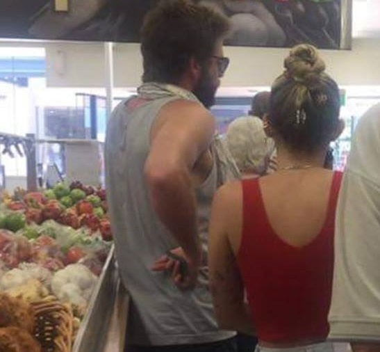 Liam Hemsworth and Miley Cyrus at Lennox Head. PHOTO: Julie Creed /Facebook.