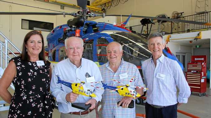 VALUED CONTRIBUTION: LifeFlight Foundation CEO Leanne Angel, Don Moffatt, Bill Freeman and LifeFlight Sunshine Coast director Rod Forrester at the RACQ LifeFlight Rescue Helicopter presentation morning at Sunshine Coast Airport.