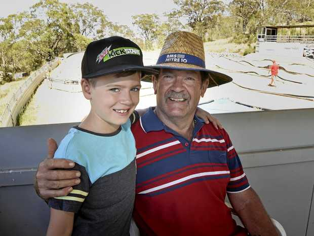 Ben Elwell and his grand-father Chris Rigby check out racing.