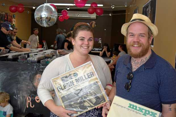 VINYL FANS: Jessica and Stanley Bielenberg at the grand opening of Bad Habit Records on Saturday.