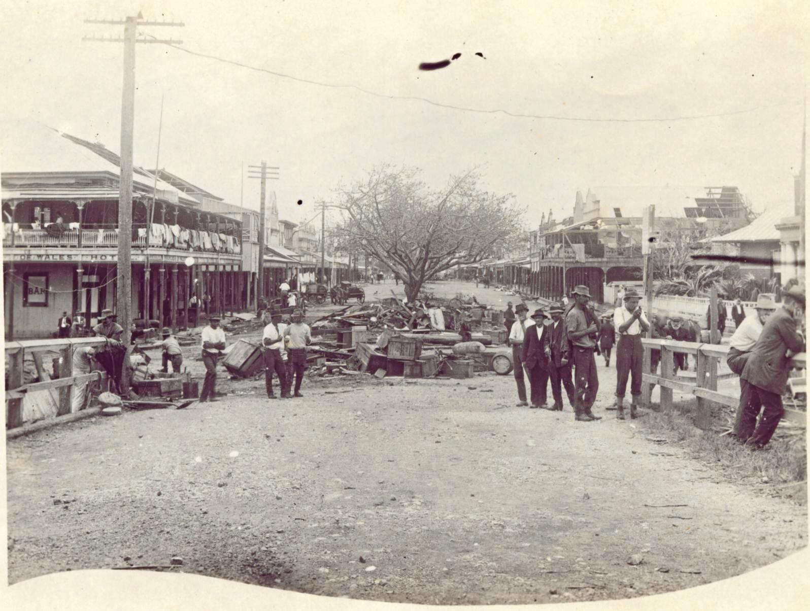 Sydney Street in Mackay after the cyclone in 1918.