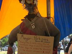 'Disgust' over use of Ballina mayor's effigy at lake protest